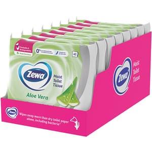 Hartie igienica umeda ZEWA Aloe Vera, 8 pachete, 42 bucati