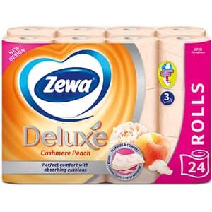 Hartie igienica ZEWA Deluxe Cashmere peach, 3 straturi, 24 role