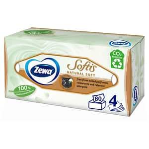 Servetele faciale ZEWA Softis Natural Soft, 4 straturi, 80 bucati