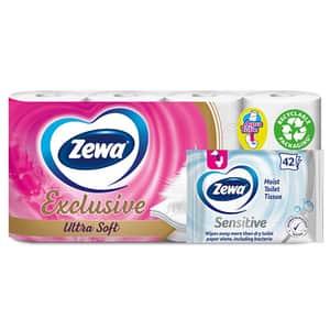 Pachet hartie igienica ZEWA Exclusive Ultra Soft, 4 straturi, 8 role + hartie igienica umeda ZEWA Sensitive, 42 bucati