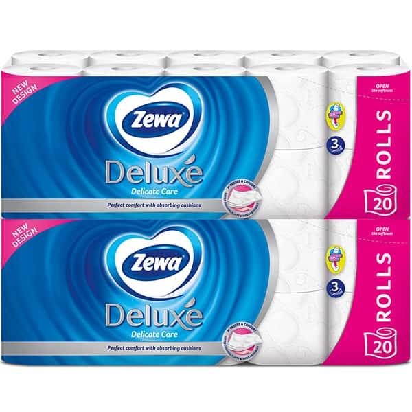 Pachet hartie igienica ZEWA Deluxe Delicate Care, 3 straturi, 2 x 20 role