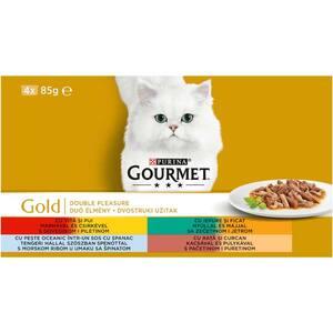 Hrana umeda pentru pisici GOURMET GOLD Double Pleasure, Vita si pui, Rata si curcan, Peste si iepure, 4 x 85 g
