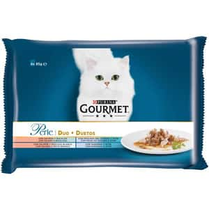 Hrana umeda pentru pisici GOURMET PERLE, Somon si ton, 4 x 85 g