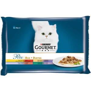 Hrana umeda pentru pisici GOURMET PERLE, Pui si vita, Curcan si miel, Rata si iepure, 4 x 85 g