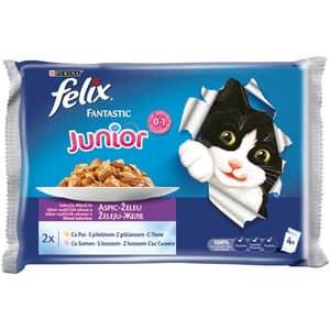 Hrana umeda pentru pisici FELIX FANTASTIC Junior, Pui in Aspic, 4 x 100 g