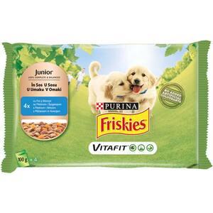 Hrana umeda pentru caini FRISKIES Junior, Pui si Morcovi in Sos, 4 x 100 g