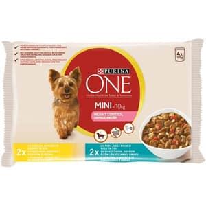 Hrana umeda pentru caini PURINA ONE MINI Controlul Greutatii, Curcan si Orez, 4 x 100 g