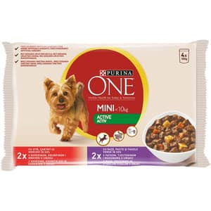 Hrana umeda pentru caini PURINA ONE MINI Activ, Vita si Cartofi, 4 x 100 g