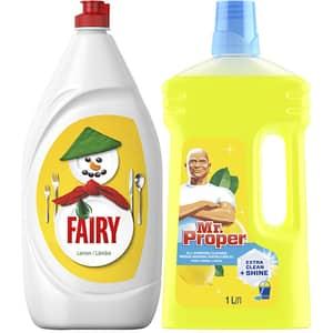 Pachet detergent de vase FAIRY Lemon, 1.3l + MR.PROPER Lemon, 1l