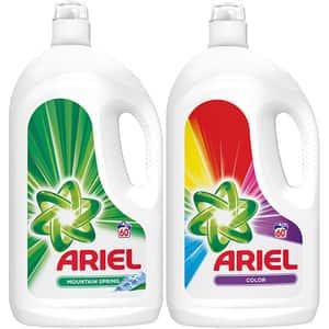 Pachet Detergent lichid ARIEL Mountain Spring, 3.3 l, 60 spalari + ARIEL Color, 3.3 l, 60 spalari