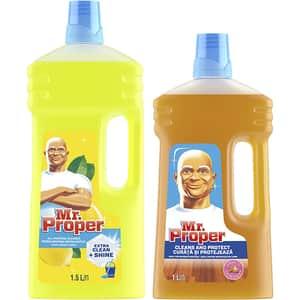 Pachet detergent universal pentru suprafete MR. PROPER, Lemon, 1.5l + Detergent pentru suprafete din lemn MR. PROPER, 1l