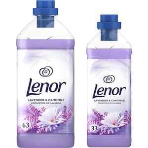 Pachet balsam de rufe Lenor Lavender & Camomile,  1.9 l + 1 l, 63 + 33 spalari