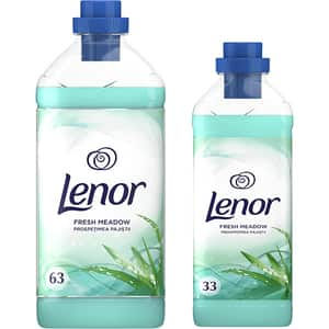 Pachet balsam de rufe Lenor Fresh Meadow, 1.9 l + 1 l, 63 + 33 spalari