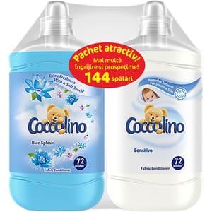Pachet Balsam de rufe Coccolino Blue Splash, 1.8 l, 72 spalari + Balsam de rufe Coccolino Sensitive, 1.8 l, 72 spalari