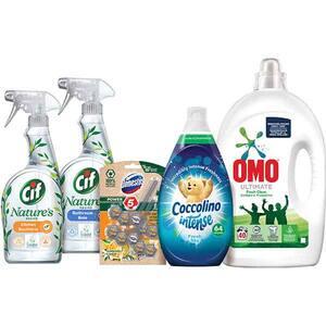 Pachet detergenti pentru curatenia casei OMO + COCCOLINO + CIF + DOMESTOS, 5 bucati