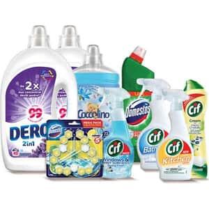 Pachet detergenti pentru curatenia casei OMO + COCCOLINO + DOMESTOS + CIF, 9 bucati + ursulet cadou