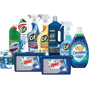 Pachet detergenti pentru curatenia casei OMO + COCCOLINO + DOMESTOS + CIF, 10 bucati