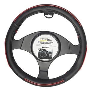 Husa volan auto DUNLOP 40249, negru-rosu