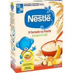 Cereale NESTLE 8 Cereale cu fructe 12399023, 12 luni+, 250g