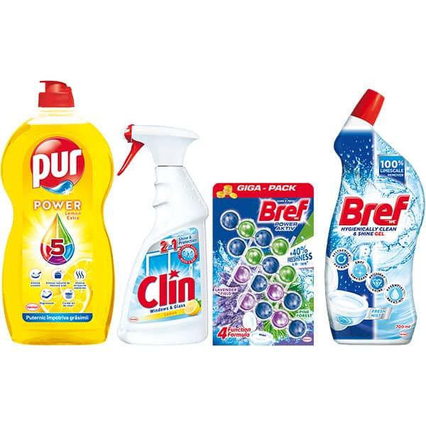 Pachet detergenti pentru curatenia casei PUR + CLIN + BREF, 4 bucati