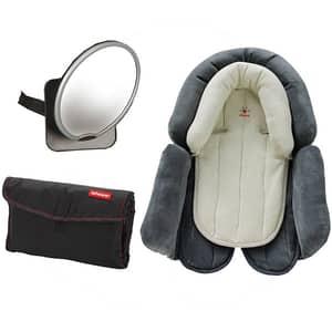 Kit auto nou-nascut DIONO D40660: oglinda Easy View + insertul nou-nascut Cuddle Soft Diono + salteluta de infasa, gri inchis-negru