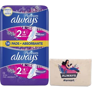 Absorbante ALWAYS Platinum Size 2, 14 buc + Pouch