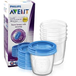 Set 5 recipiente pentru stocarea laptelui PHILIPS AVENT SCF619/05, 5 buc x 180 ml, albastru-transparent