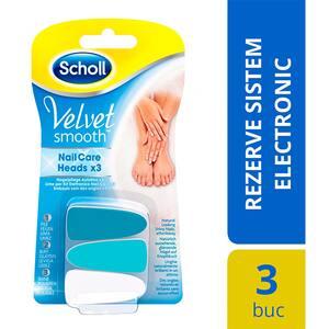 Rezerva pila electrica SCHOLL Velvet Smooth Nail Care, 3 bucati, alb-albastru