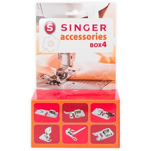 Set accesorii SINGER BOX4: piciorus surfilare + piciorus tiv invizibil + piciorus intoarcere tiv + piciorus cusut snur + piciorus stopare + piciorus cusatura decorativa