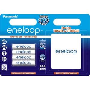 Acumulatori PANASONIC Eneloop LR03/AAA, 750mAh, 4 bucati + cutie depozitare