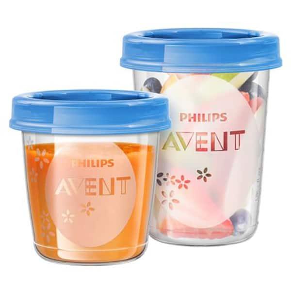 Recipiente stocare hrana PHILIPS AVENT SCF721/20, 21 piese, albastru - transparent