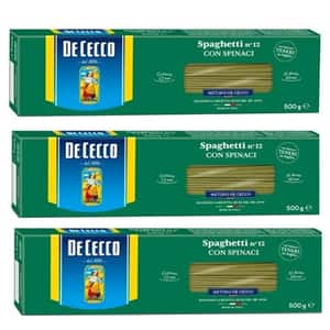 Paste Spaghetti cu spanac DE CECCO, 500g, 3 bucati