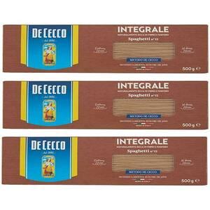 Paste integrale Spaghetti DE CECCO, 500g, 3 bucati