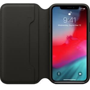 Husa Leather Folio APPLE pentru iPhone Xs, MRWW2ZM/A, Black