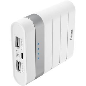 Baterie externa HAMA 183357, 10400mAh, 1xMicroUSB, 2xUSB, alb
