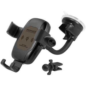 Suport auto cu incarcare wireless + Casca Handsfree PROMATE AuraMount-BT, ventilatie/parbriz/bord, maro