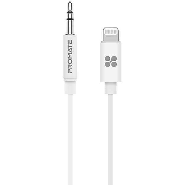 Cablu audio PROMATE AudioLink-LT2, Lightning - Jack 3.5mm, 2m, alb