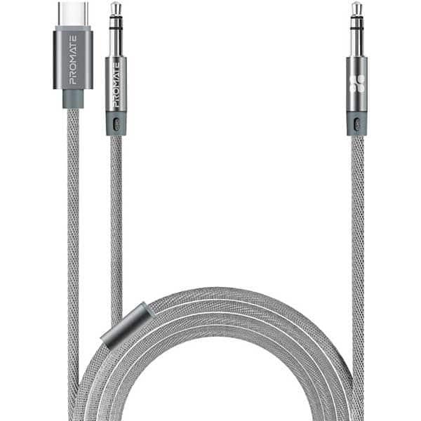 Cablu audio PROMATE AUXLink-CM, Jack 3.5mm - Type C/Jack 3.5mm, 1.2m, gri