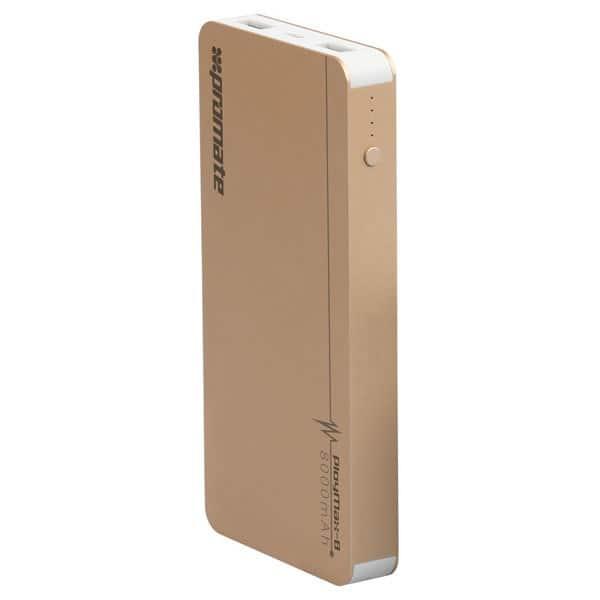 Baterie externa PROMATE PolyMax-8, 8000mAh, 2xUSB, aluminiu, Gold
