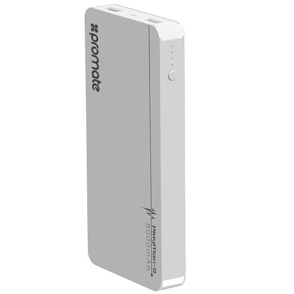 Baterie externa PROMATE PolyMax-8, 8000mAh, 2xUSB, aluminiu, Silver