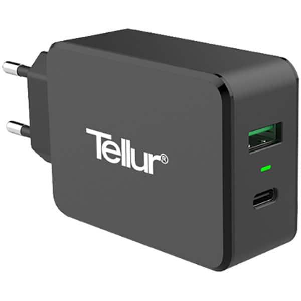 Incarcator retea TELLUR TLL151071 Type C-USB A, negru