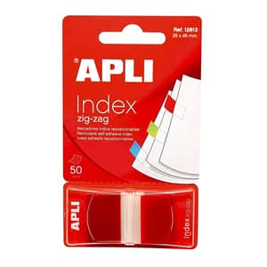 Index APLI Pop-up, 25 x 45 mm, hartie, plastic, 50 file, rosu