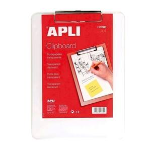 Clipboard APLI, A4, plastic, transparent