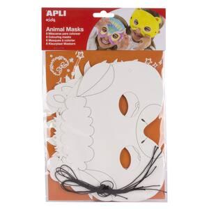 Masca pentru copii APLI, Diverse modele, 6 bucati, alb