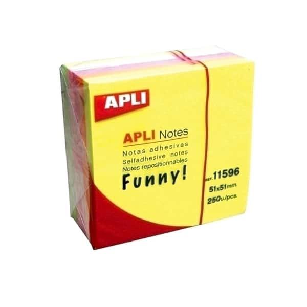 Notite adezive APLI, 250 file, 51 x 51mm, diverse culori