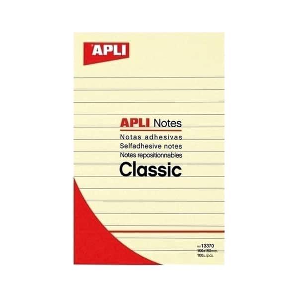 Notite autoadezive APLI, 100 file, 150  x 150mm, galben