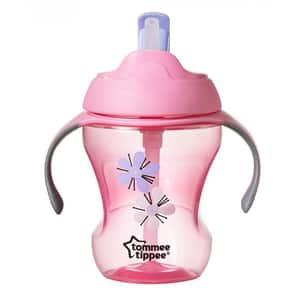 Cana cu pai TOMMEE TIPPEE Easy drink TT0077, 6 luni+, 230 ml, roz-portocaliu
