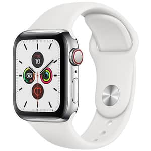 APPLE Watch Series 5 GPS + Cellular, 40mm Stainless Steel Case, White Sport Band