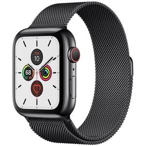 APPLE Watch Series 5 GPS + Cellular, 44mm Space Black Stainless Steel Case, Space Black Milanese Loop