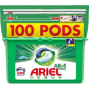 Detergent capsule ARIEL All in One PODS Mountain Spring, 100 spalari
